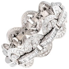 24.00 Carat White Diamond Chain Link Bracelet in 18 Karat White Gold