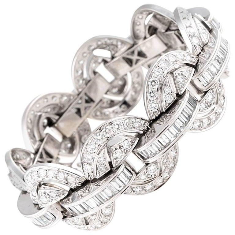 24.00 Carat White Diamond Chain Link Bracelet in 18 Karat White Gold