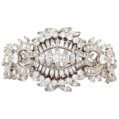 Platinum Vintage Bracelet with Approx 25 Carat of White Diamonds