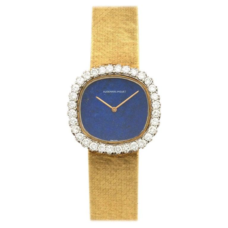Audemars Piguet Ladies Yellow Gold Diamond Lapis Lazuli Manual Wristwatch
