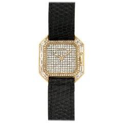 Cartier Ladies Yellow Gold Diamond Square Tank Manual Wristwatch