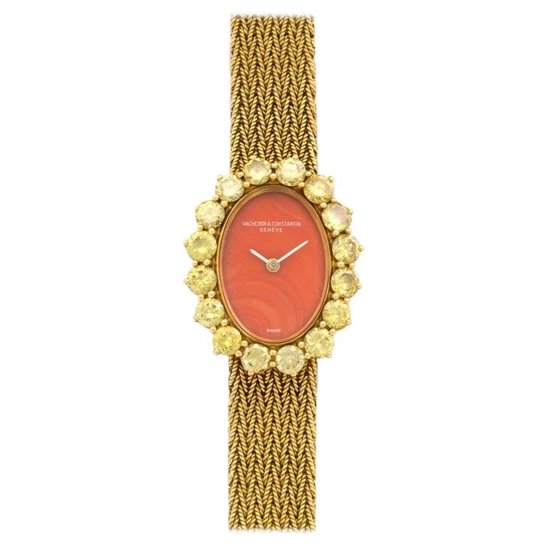 Vacheron Constantin Ladies Yellow Gold Yellow Diamond Coral Manual Wristwatch
