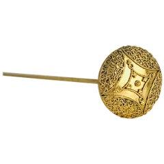 Vermeil, Victorian Scroll Encrusted Hat Pin, Vermeil Gold Gilt