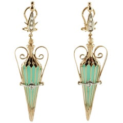 Green Agate Diamonds Rose Gold Amphora Earrings