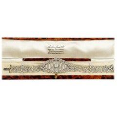 Belle Époque Rare Platinum Diamond Seed Pearl Bracelet