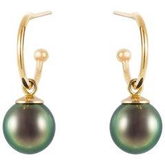 Gold Tahitian Pearl Drop Hoop Earrings