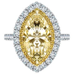 4.80 Carat Yellow Marquise White Diamond Platinum Double Halo Engagement Ring