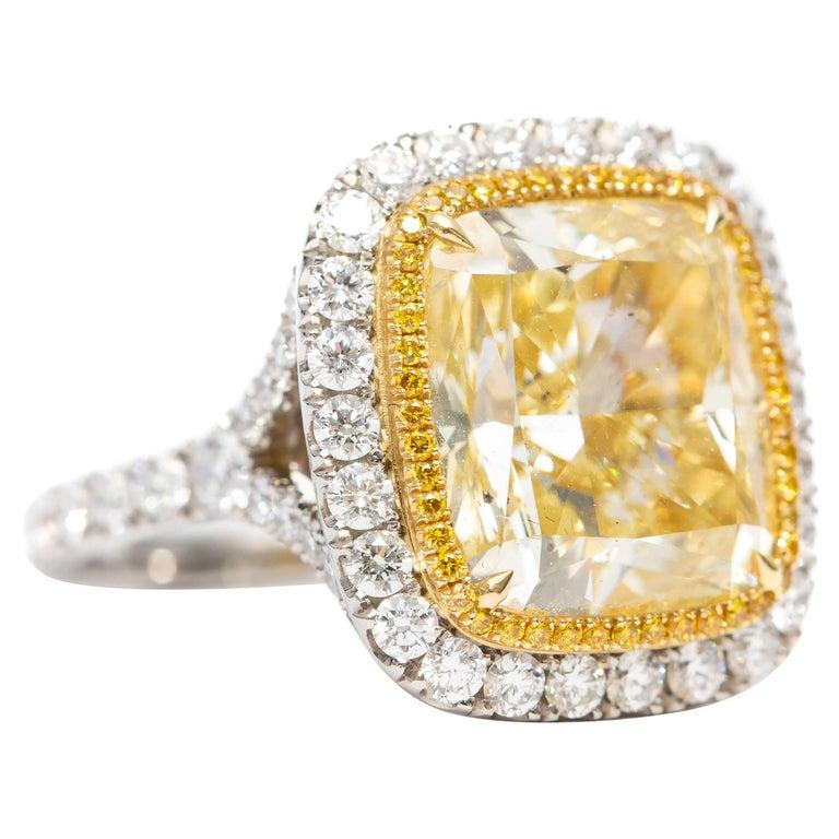 12.25 Carat GIA Certified 10.10 Carat Platinum Diamond Halo Engagement Ring