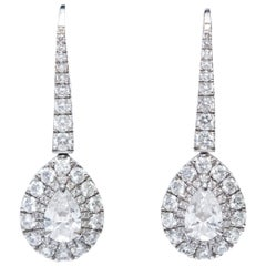 GIA Certified 2.30 Carat Pear Shaped Platinum Diamond Drop Halo Modern Earrings