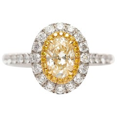 1.81 Carat Yellow Oval Cut Diamond Platinum Double Halo Modern Engagement Ring