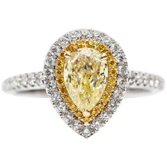 1.33 CT GIA Certified Yellow Pear Shape Cut Diamond Double Halo Engagement Ring