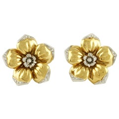 Diamonds, 18 Karat Yellow and White Gold, Clip Earrings