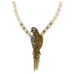 Pearls Gold Diamonds Parrot Pendant Necklace