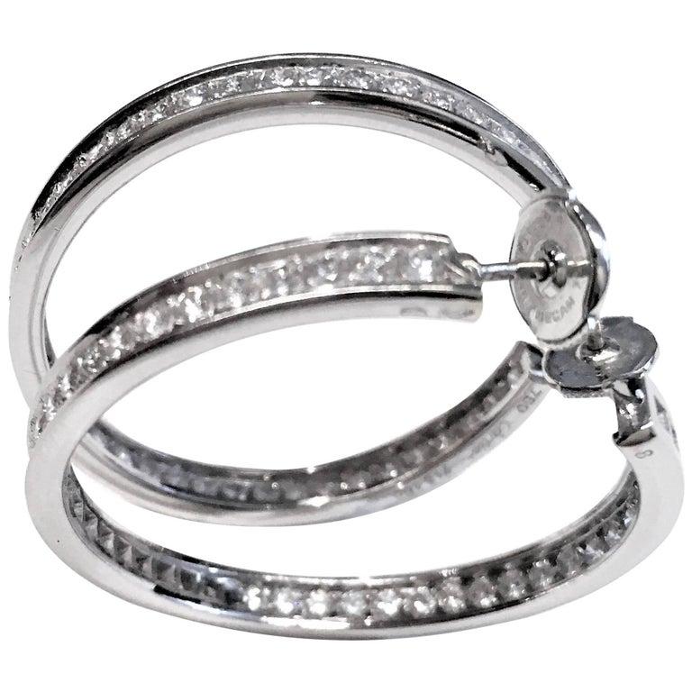 Pair of 18 Karat White Gold Cartier Diamond Hoop Earrings For Sale
