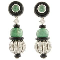 Emerald Onyx Diamonds White Gold Dangling Earrings