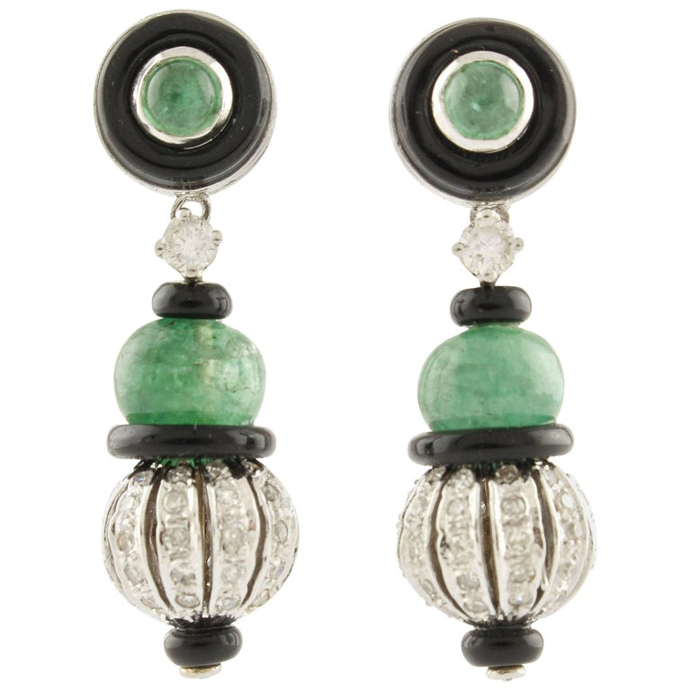 Emerald Onyx Diamonds White Gold Dangling Earrings