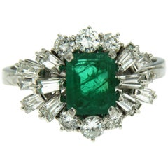 Vintage 1.80 Carat Colombian Emerald Diamond Gold Ring