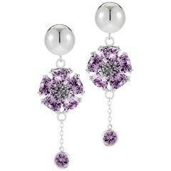 .925 Sterling Silver 2 x 20 mm Amethyst Blossom Stone Bezel Earrings