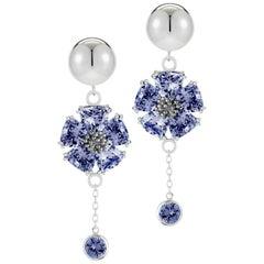 Dark Blue Sapphire Blossom Stone Bezel Earrings