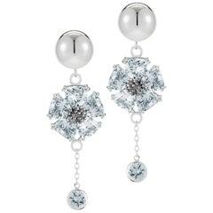 .925 Sterling Silver 2 x 20 mm Light Blue Sapphire Blossom Stone Bezel Earrings