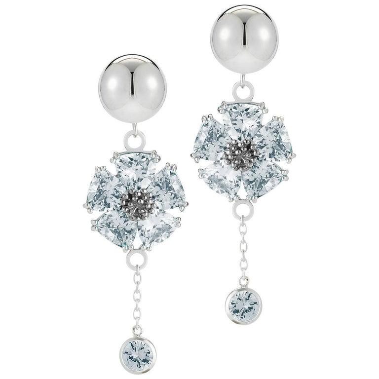 Light Blue Sapphire Blossom Stone Bezel Earrings For Sale