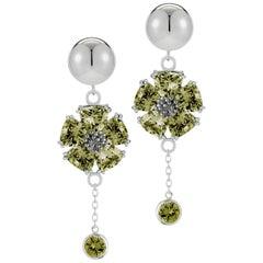 Olive Peridot Blossom Stone Bezel Earrings