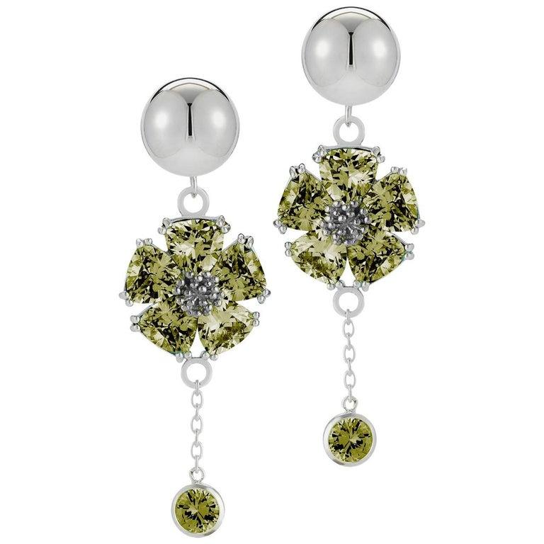 .925 Sterling Silver 2 x 20 mm Olive Peridot Blossom Stone Bezel Earrings