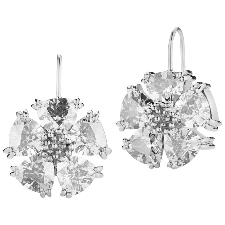 .925 Sterling Silver 10 x 7mm White Sapphire Blossom Stone Wire Earrings