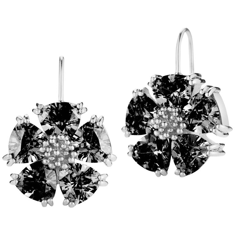 .925 Sterling Silver 10 x 7mm Black Sapphire Blossom Stone Wire Earrings