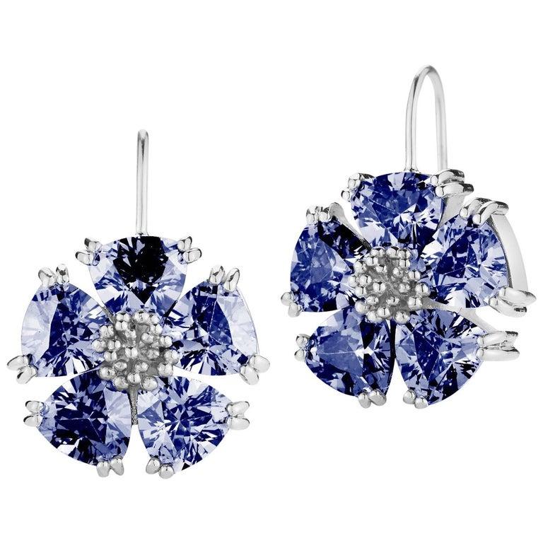 .925 Sterling Silver 10 x 7mm Dark Blue Sapphire Blossom Stone Wire Earrings
