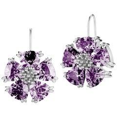 .925 Sterling Silver 10 x 7mm Amethyst Blossom Stone Wire Earrings