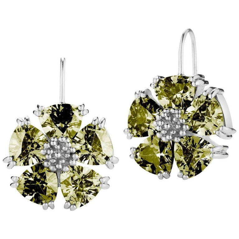 .925 Sterling Silver 10 x 7mm Olive Peridot Blossom Stone Wire Earrings