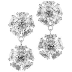 .925 Sterling Silver 2 x 20 mm White Sapphire Double Blossom Stone Earrings