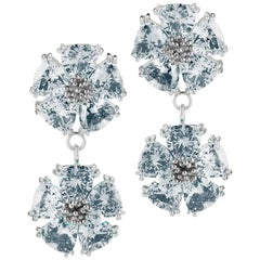 Light Blue Sapphire Double Blossom Stone Earrings