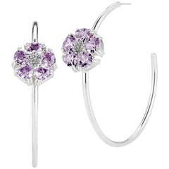 .925 Sterling Silver 2 x 20 mm Amethyst Blossom Stone Open Hoops
