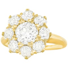 Antique Diamond Set Gold Ring 3.31 Carats Total
