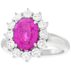 Bucherer Pink Sapphire and Diamond Set Gold Ring