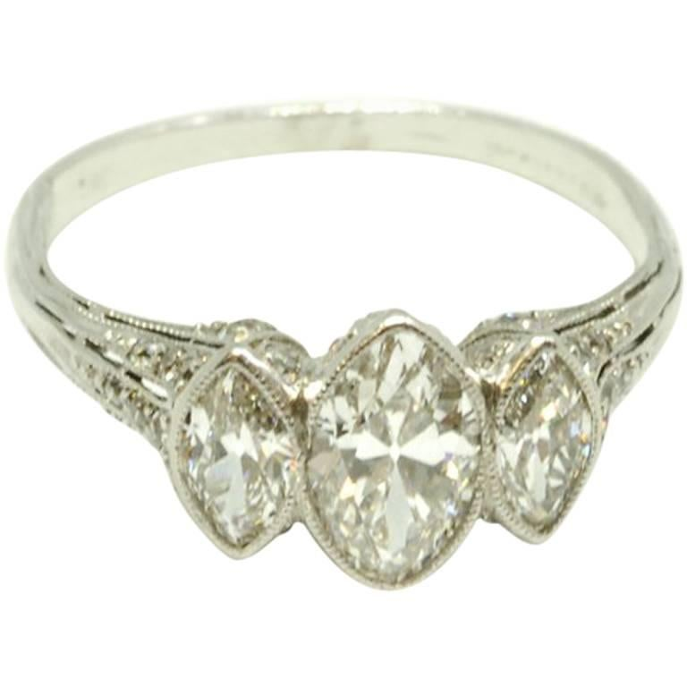 Tiffany & Co. Three-Stone Marquise Diamond Ring