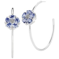 Dark Blue Sapphire Blossom Stone Open Hoop Earrings