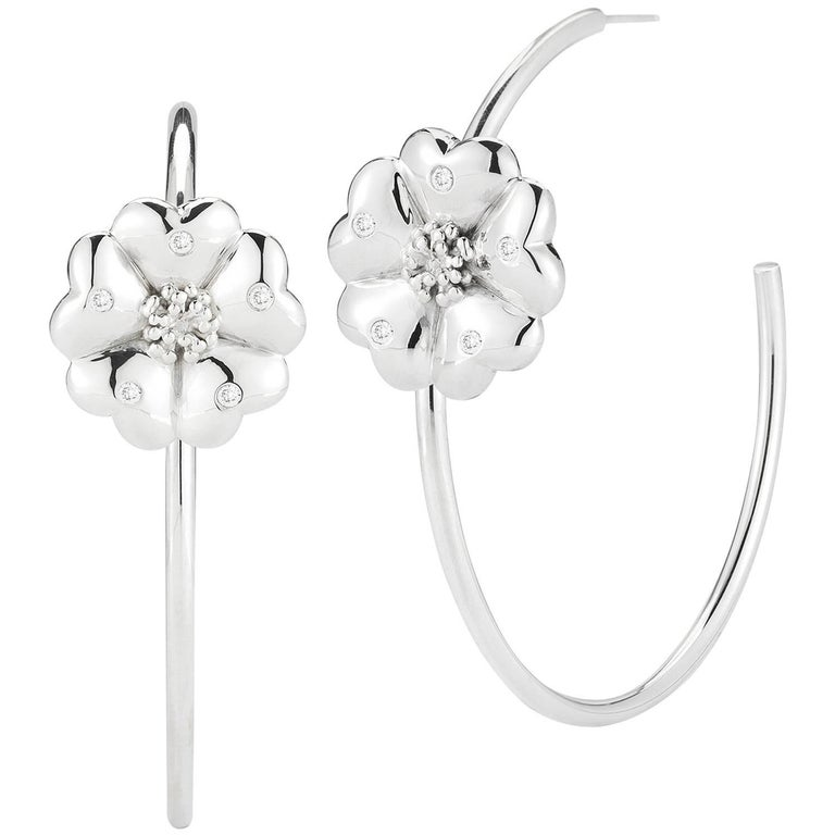.925 Sterling Silver White Sapphire Blossom Pave Open Hoops