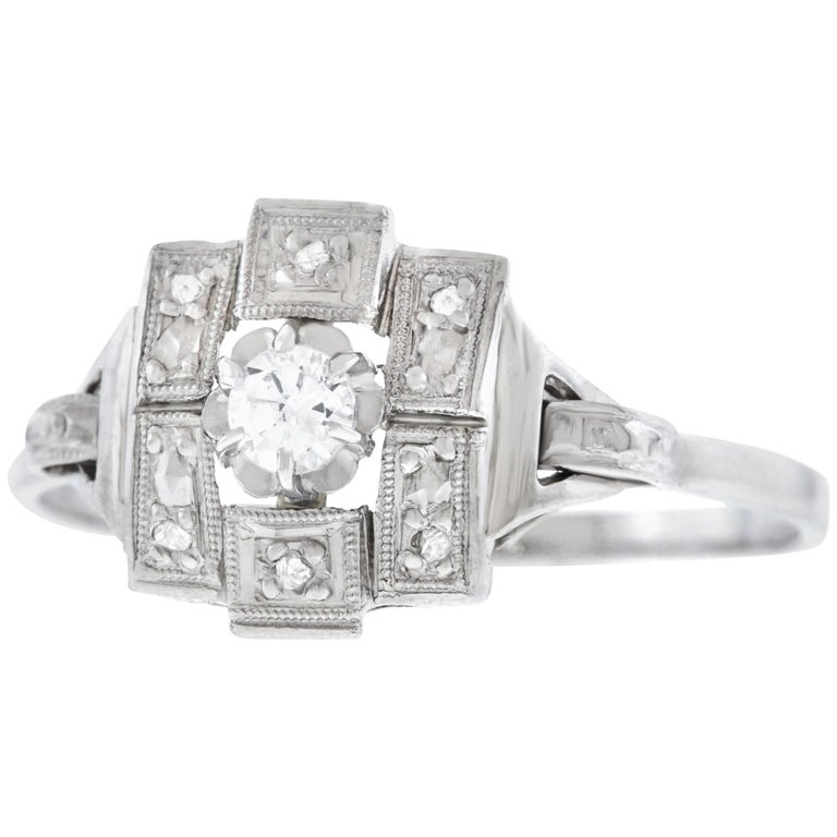 French Art Deco Diamond Set Gold and Platinum Ring