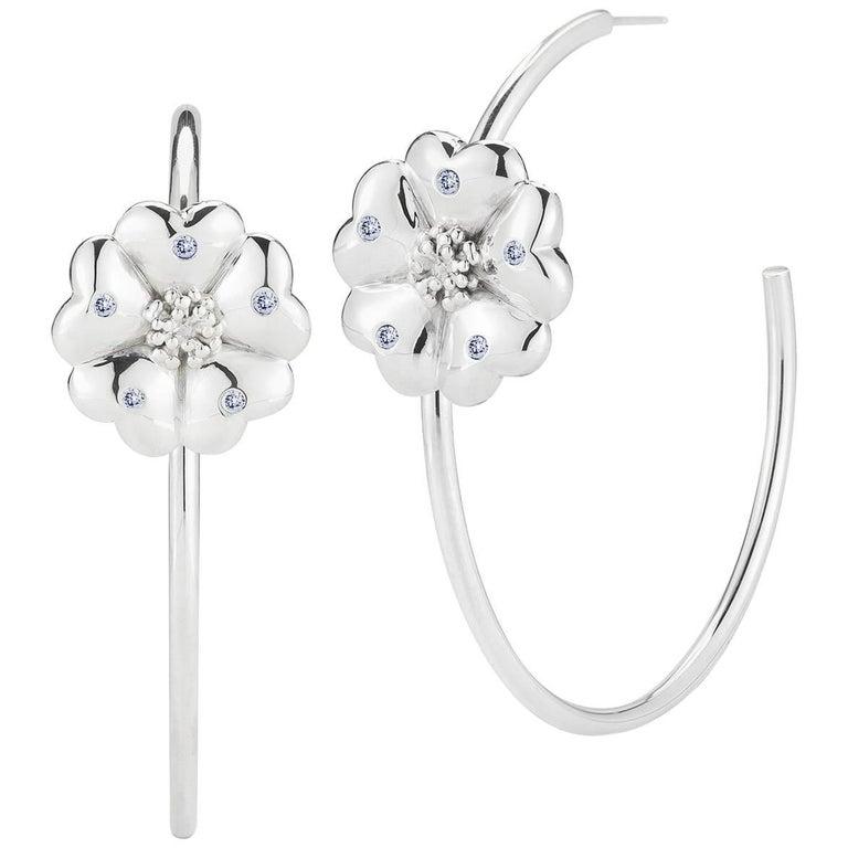 Dark Blue Sapphire Blossom Pave Open Hoop Earrings For Sale