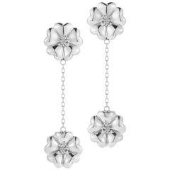 .925 Sterling Silver Double Blossom Chain Drop Earrings