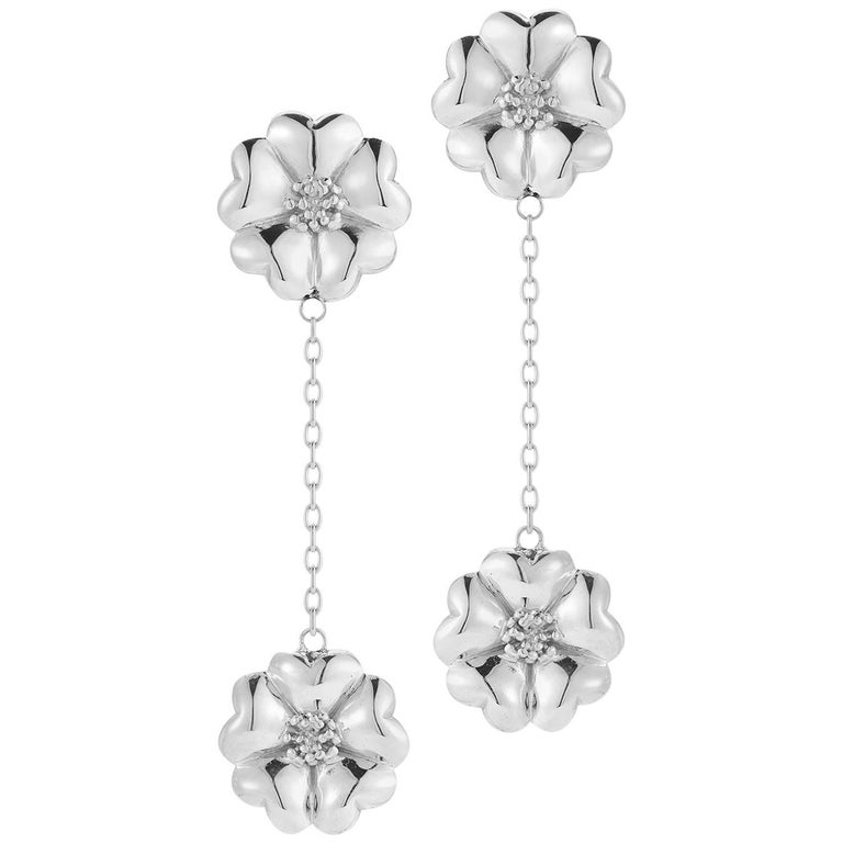 .925 Sterling Silver Double Blossom Chain Drop Earrings