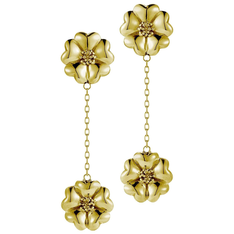 24k Yellow Gold Vermeil Double Blossom Chain Drop Earrings