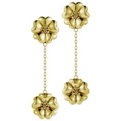 14k Yellow Gold Vermeil Double Blossom Chain Drop Earrings