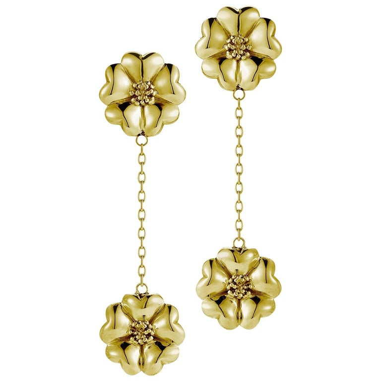 14k Yellow Gold Vermeil Double Blossom Chain Drop Earrings