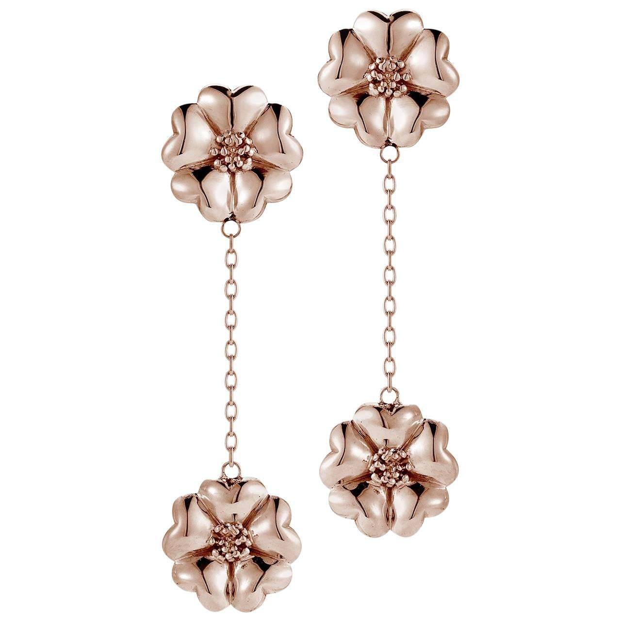 24k Rose Gold Vermeil Double Blossom Chain Drop Earrings