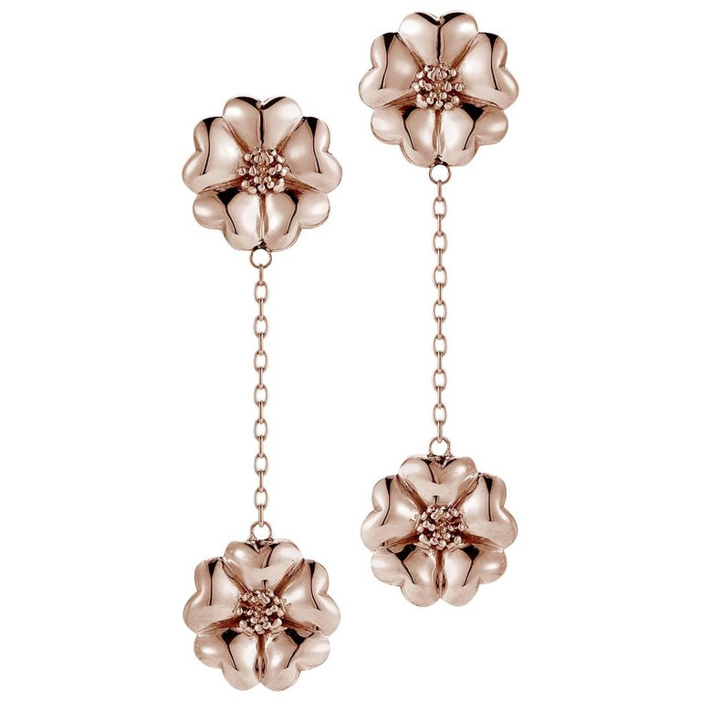 14k Rose Gold Vermeil Double Blossom Chain Drop Earrings