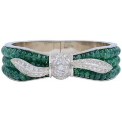 Vintage Green Emerald and White Diamonds Ladies White Gold Bangle Bracelet
